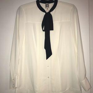 Anne Klein tie neck tuxedo blouse